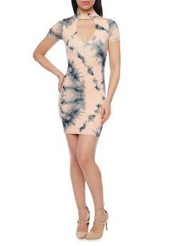 Mid Length Tie Dye Racerback Bodycon Dress - 1410062705634