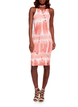 Sleeveless Tie Dye Midi Dress - 1410062705635