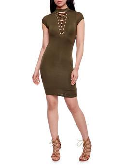 Plunging Lace Up V Neck Mini Dress - OLIVE - 1410062705645