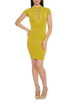 Plunging Lace Up V Neck Mini Dress - MUSTARD - 1410062705645