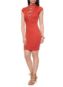Plunging Lace Up V Neck Mini Dress - RUST - 1410062705645