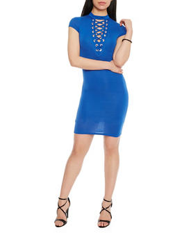 Plunging Lace Up V Neck Mini Dress - ROYAL - 1410062705645