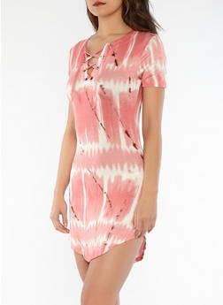 Tie Dye Lace Up T Shirt Dress - 1410062705655