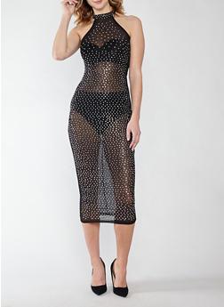 Studded Mesh Dress - 1410062705675