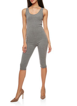 Solid Capri Catsuit - CHARCOAL - 1410062706397