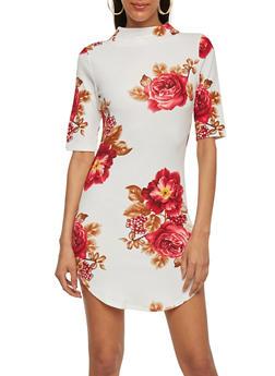 Floral Mock Neck Shirttail Dress - 1410062706446