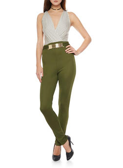 Striped Upperbody Jumpsuit with Chain Belt Accent - OLIVE - 1410062706460