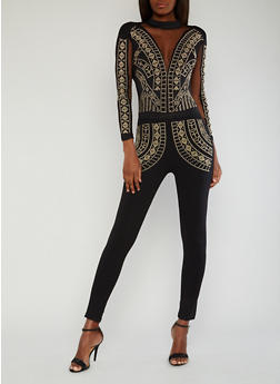 Plunging V Neck Studded Jumpsuit with Mesh Inserts - 1410062706486