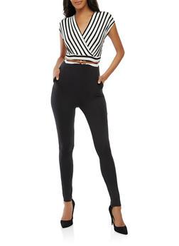 Soft Knit Striped Jumpsuit - 1410062706593