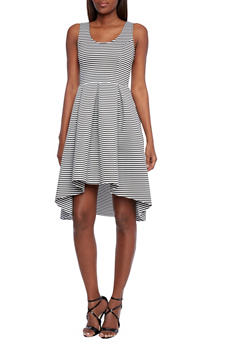 Striped High Low Skater Dress with Zipper Back - 1410062706599