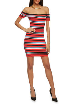 Off the Shoulder Striped Bodycon Dress - 1410062707038