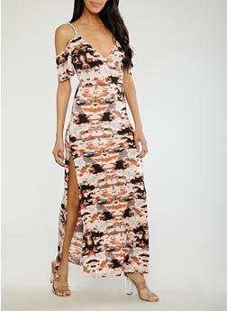 Tie Dye Off the Shoulder Maxi Dress - 1410062707752