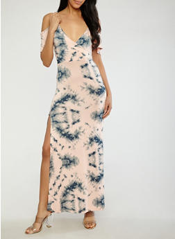 Tie Dye Off the Shoulder Maxi Dress - 1410062707752