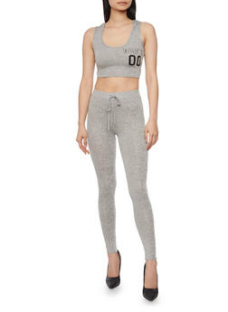 Graphic Hooded Crop Top with Leggings Set - 1410062708007