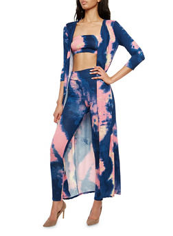 Tie Dye Duster with Leggings and Bandeau - 1410062709805