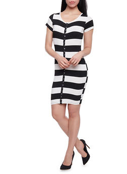 Striped Snap Front T Shirt Dress - 1410062709833