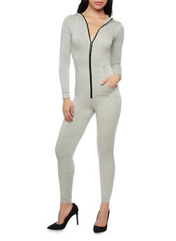 Hooded Zip Up Jumpsuit with Pockets - 1410062709861