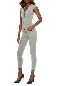 Marled Hooded Jumpsuit with Cap Sleeves - 1410062709865