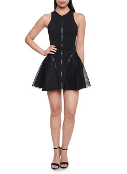 Sleeveless Skater Dress with Mesh Panels and Zipper Trim - BLACK - 1410062709869