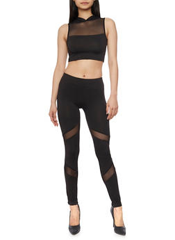 Hooded Mesh Yoke Crop Top and Leggings Set - 1410062709870