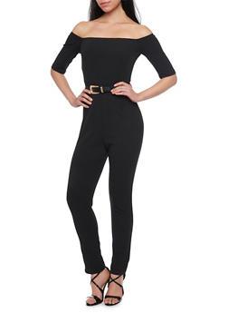 Off the Shoulder Jumpsuit with Belt - BLACK - 1410062709888