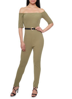 Off the Shoulder Jumpsuit with Belt - OLIVE - 1410062709888