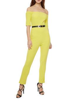 Off the Shoulder Jumpsuit with Belt - MUSTARD - 1410062709888