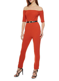 Off the Shoulder Jumpsuit with Belt - RUST - 1410062709888