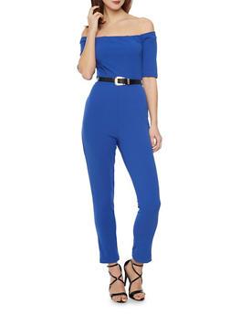 Off the Shoulder Jumpsuit with Belt - BLUE - 1410062709888