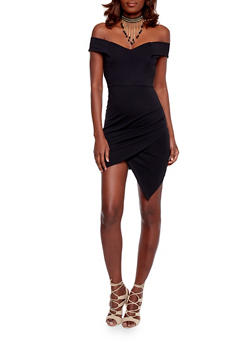 Off the Shoulder Asymmetrical Dress - BLACK - 1410062709896