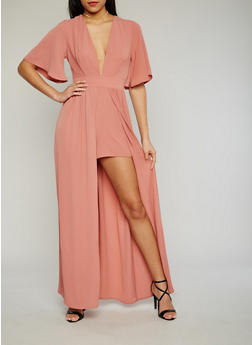 Plunging Neck Maxi Dress with High Front Slit - MAUVE - 1410062709899