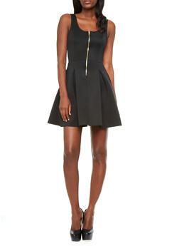 Exposed Zipper Front Sleeveless Fit-And-Flare Dress,BLACK,medium