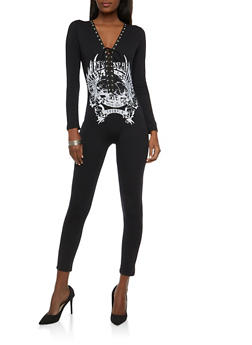 Graphic Lace Up Catsuit - 1410062709937