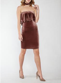 Velvet Choker Neck Off the Shoulder Dress - 1410062709957