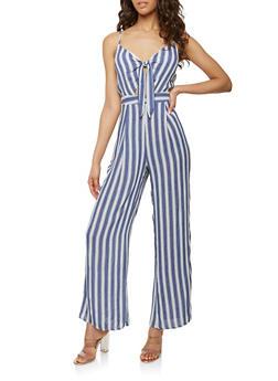 Striped Keyhole Tie Front Jumpsuit - 1410062709978