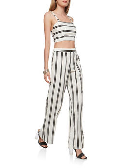 Striped Crop Top and Palazzo Pants Set - 1410062709984