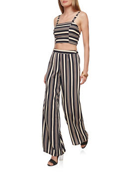 Striped Crop Top and Palazzo Pants Set - NAVY - 1410062709984