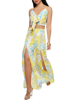 Printed Tie Front Crop Top and Split Leg Pants Set - 1410062709985