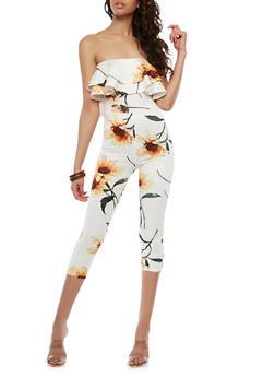 Double Ruffle Floral Off the Shoulder Jumpsuit - 1410062709988