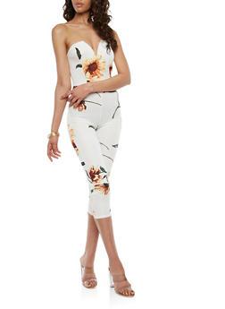 Strapless Floral Print Jumpsuit - 1410062709989
