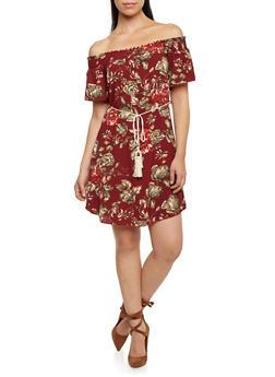 Floral Off The Shoulder Shift Dress with Tassel Tie at Waist - 1410065621345