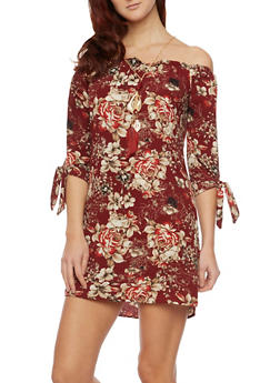 Floral Off The Shoulder Dress with Tie Sleeves - 1410065621355
