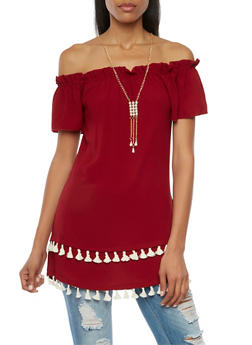 Off the Shoulder Mini Dress with Necklace and Tassels - 1410065621356