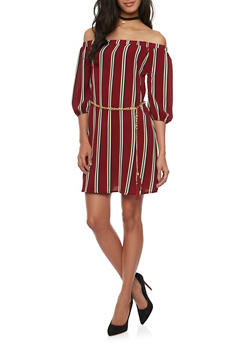 Off The Shoulder Striped Dress with Chain Belt - 1410065621361