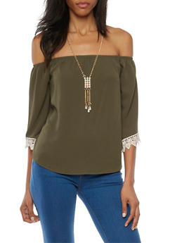 Off the Shoulder Top with Crochet Trim and Necklace - 1410065621963