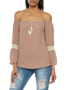Off The Shoulder Top with Crochet Insets and Necklace - 1410065621966