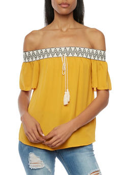 Off the Shoulder Top with Printed Trim - MUSTARD - 1410065621969