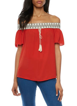 Off the Shoulder Top with Printed Trim - 1410065621969