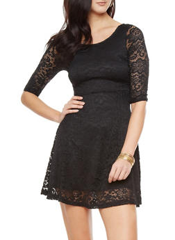 Three Quarter Floral Lace Skater Dress With Open Lace Sleeves,BLACK,medium