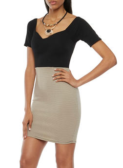 Bodycon Dress with Striped Skirt and Necklace - 1410065622972